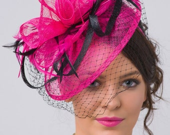 "Fuchsia Fascinator - ""Noor"" Fuchsia & Black Fascinator Hat Headband w/Ribbon waves a black birdcage veil"