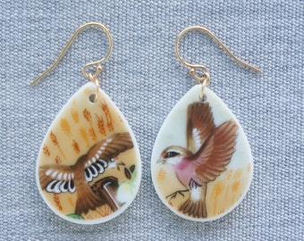 Field Bird Earrings Broken Recycled China Jewelry Material and Movement