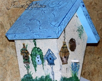 Hand Crafted Birdhouse, Decorative Crackle, Great Gift for Mother, Father, Christmas, Birthday - Made In The USA - Ready To Ship