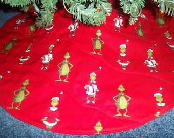 "Handmade ""How The Grinch Stole Christmas"" Tree skirt  30"" wide round"