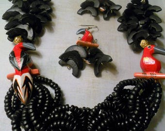 Parrot and Black Wood Tropical Necklace with Red and Black Parrots and Half Circles and Circle Chains of Black Beads with Matching Earrings