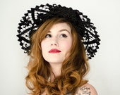 1960s vintage hat / wide brim black straw hat / Kutz Nannette