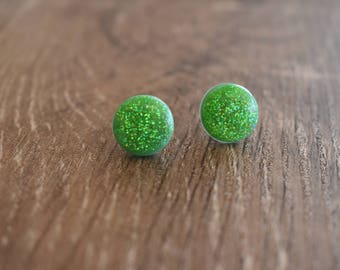Glitter earrings, 12mm studs, polymer clay and resin