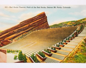 Vintage Red Rocks Postcard, Red Rocks Amphitheatre, Red Rocks Theatre Postcard, Vintage Colorado Postcard, Red Rocks Colorado Postcard