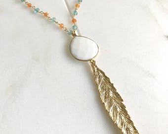 Long Gold Leaf Necklace. Layering Necklace. White Stone Feather Necklace. Beaded Necklace. Jewelry. Boho Jewelry. Gold Aqua Necklace.