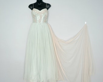Rare 1950s Pastel Frank Starr Evening Gown with Sequins