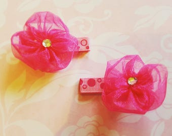 Baby Hair Bows, Baby Hair Clips, Hair Clips For Baby,  Toddler Girl, Infant Hair Clips Rose Buds and Pearls Hair Clip