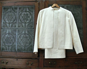 Women's White Ultrasuede Suit - Vintage Jacket and Skirt - Size 12 - Off White - Cream