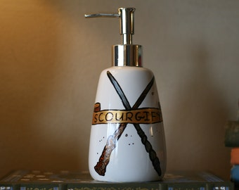 Hand Painted Harry Potter Soap Dispenser: Scourgify! Harry and Ginny's wands with a Purple Owl