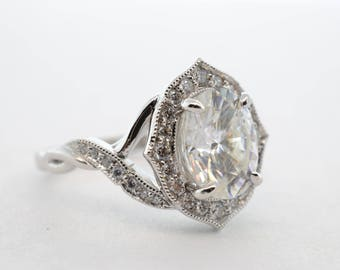 14k White Gold 1.91ct Moissanite and Diamond Ring- Size 6