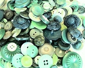 Jar of Buttons - Green Color - Vintage and New Mixed (1 Jar)