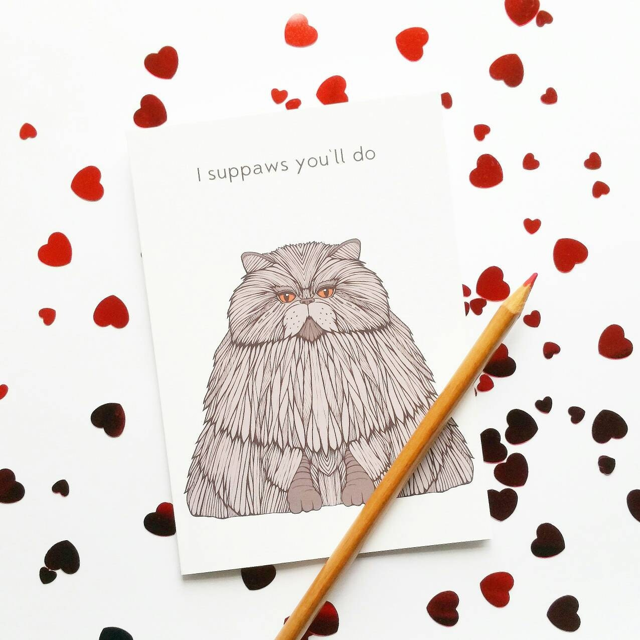 Funny Cat Valentine Card I suppaws youll do – How to Do Valentine Card
