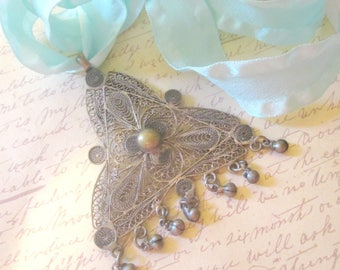 Vintage Filigree Wire Work Triangle Pendant