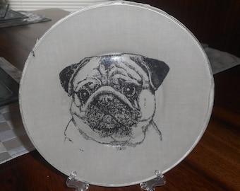 """fabric backed glass plates, pug, pug plate, 8.5"""" plate, desert or salad plate, dog breed, pug dog, dog, display plate"""