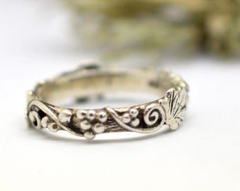 Silver vine stack ring, vines branch stacking ring in sterling silver size 6 delicate band ring, promise ring