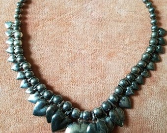 Vintage syerling silver beaded heart necklace 66 grams