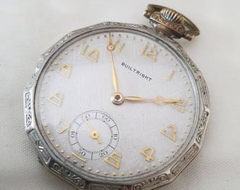 Vintage Built Right Metro Pocket watch 6j unique face gold plated white Swiss