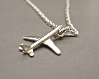Airplane Necklace Silver, Airplane Jewelry, Airplane Necklace,Pilot Jewelry, Pilot Necklace,Gift for Pilot,Airplane Charm,Father's Day