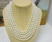 Elegant Classy 5 Strand Faux Pearl Necklace,Hollywood Glamour,Diva Couture