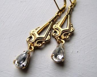 Art Nouveau Jewelry Vintage Crystal Rhinestone Earrings Rhinestone Dangle Earrings Deco Jewelry Romantic Bridal Earrings Bridesmaids Earring