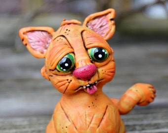 Tiger Striped Kitty Cat Brown Polymer Clay Sculpture
