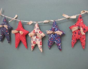 Primitive Star Garland - 5 Americana Grungy Fabric Stuffed Stars - Primitive July 4th Decor - Patriotic Garland - Red White Blue Decor
