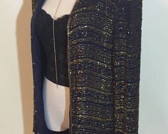 Gorgeous Gold Beaded Navy Blue Vintage Jacket July 4th sale