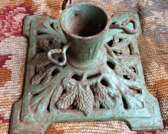 Didnt Care That Christmas Was Over This Antique Mint Green Cast Iron Tree Stand Is A Must