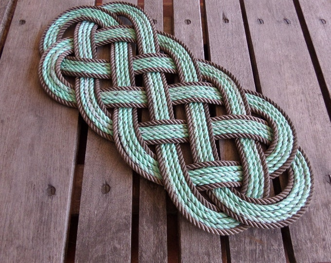 Casserole Trivet or Centerpiece Green With Brown Trim Temps up to 350 degrees Nautical Rope Trivet Centerpiece Wall Hanging