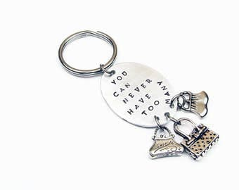 Purse Key Chain for Her (Funny Stamped Keychain Gag Gift with Womens Purse, Bag, Handbag Charm)