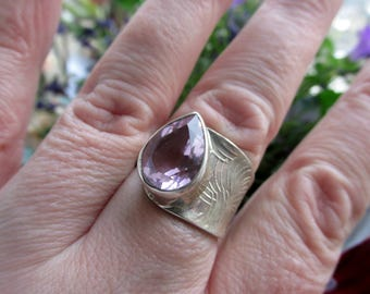 Sale, Adjustable Very Beautiful Pink Kunzite Ring Size 8 to 10 USA (925 Silver)