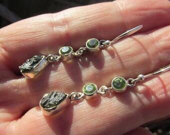 Very Beautiful Magical Moldavite and Peridot Earrings, 925 Silver