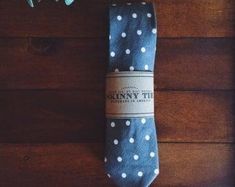 Skinny Tie || Gray Polka Dot