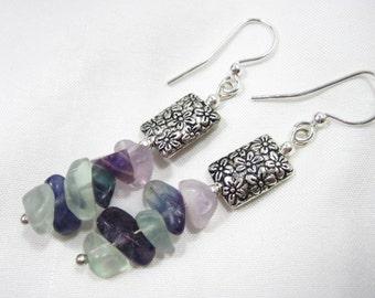 Multi-Color Fluorite & Tibetan Silver Flower Earrings