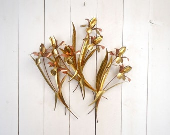 3D Floral Wall Hangings 1960s Mid Century Copper Brass Metal Art Hammered Brutalist Iris Flower Sculptures Set of 4