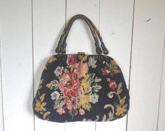 Flash Sale 25% Off Carpet Bag Handbag Purse 1950s Floral Mid Century Black Red Rose Vintage Needlepoint Bag