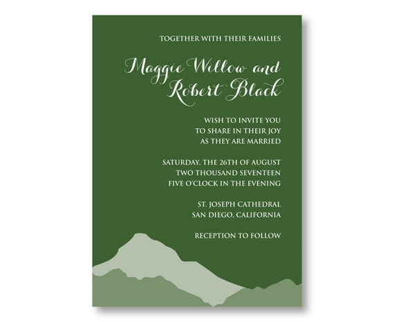 Mountain Wedding Invitations, Custom Printed with RSVP Cards and Envelopes, 20 Pieces Per Order