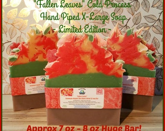 Fallen Leaves HUGE Cold Process Natural Shea Blend Soap. Vegan. Gluten Free. Gift, Holiday, Stocking Stuffer. XL Bar Approx 7 oz - 8 oz Size