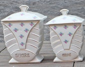 Vintage French Set of 4 Porcelain Storage Canisters - Spice Containers - kitchen canisters - Spice jars
