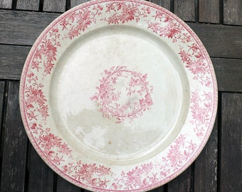 Antique French Serving Platter -  French Tray Platter - Red Transferware - Antique Ironstone Tea Stained Red Transferware