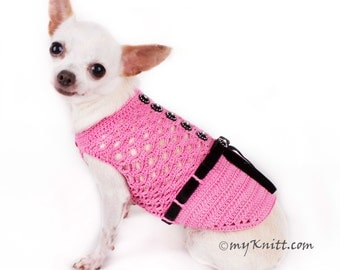 Pink Dog Dress with Black Ribbon, Handmade Crocheted Dog Clothes, Chihuahua Cat Yorkie Dachshund Corgi DF84 by Myknitt - Free Shipping