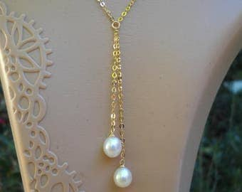 Pearl Necklace, Pearl Drop Necklace, Tear Drop Pearl Necklace, Drop Pearl Necklace, Gold Filled Pearl Necklace,
