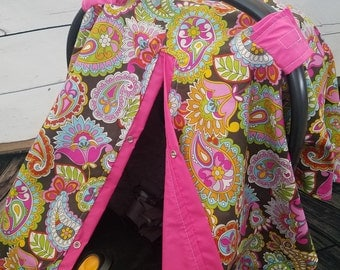 Carseat Canopy Girl Floral Paisley Last One READY TO SHIP