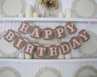 HAPPY BIRTHDAY Banner, Birthday Party Sign, Girl Birthday, Happy Birthday Sign, Sweet 16, Baby's First Birthday