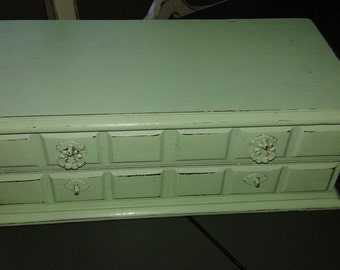 Jewelry Box/  Handpainted/ Shabby Chic/ Cottage Chic/ Acadia Green/ OOAK/ Bridesmaid Gift
