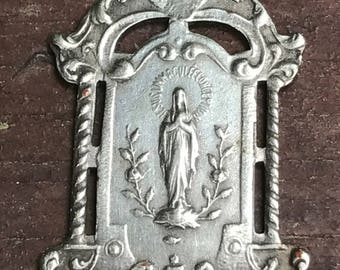 """Vintage Holy Mary Notre Dame of Lourdes OOSTAKKER Silver Religious Medal Pendant on 18"""" sterling silver rolo chain"""
