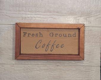 Fresh Ground Coffee Sign - coffee sign - coffee wall hanging - coffee wall art - coffee wall decor - coffee home decor