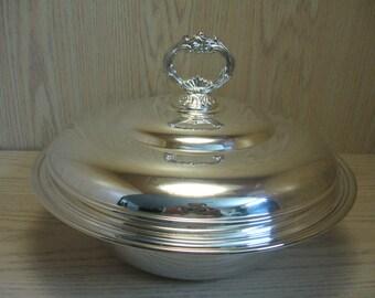 Silver Plate Casserole Dish Glass Insert Flower Lid Handle