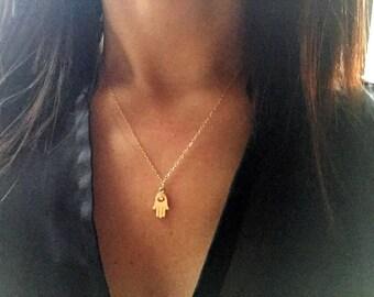 Gold Hamsa Necklace. Gold Choker. Dainty Necklace. Evil Eye Necklace. Gold Filled Necklace. Yoga Necklace. Layering Necklace.Simple Necklace