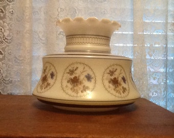 Quoizel Milk Glass Shade Hanging & Parlor Lamps Blue Brown Flowers Vintage 1960's Lighting